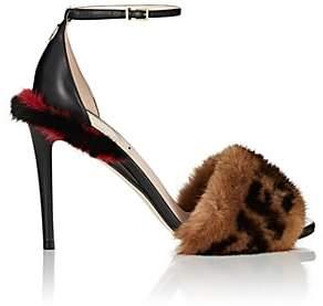 Fendi Women's Fur-Trimmed Leather Sandals-Black