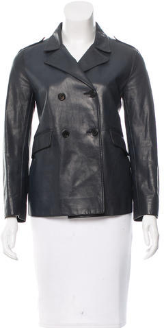 pradaPrada Leather Double-Breasted Jacket