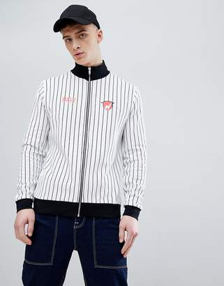 Asos Design DESIGN Track Jacket With Stripe And Chest Print