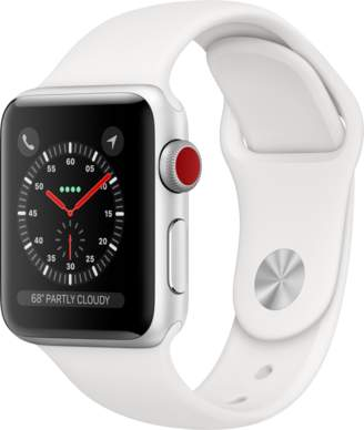 Apple AppleWatch Series3 GPS+Cellular, 38mm Silver Aluminum Case with White Sport Band