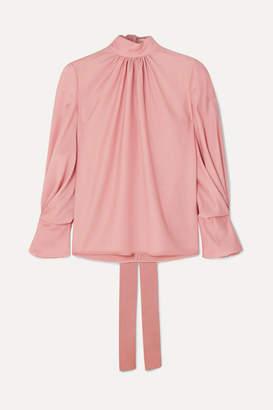 83812de5 Emilia Wickstead The Woolmark Company Venice Gathered Merino Wool Blouse -  Pink