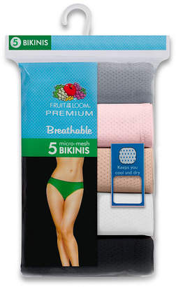 Fruit of the Loom 5-Pack Womens Breathable Bikini Panties - 5DBK5F0