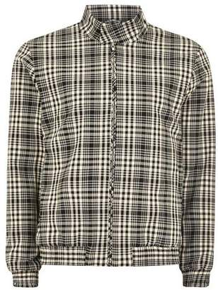 Topman Mens Black And White Check Smart Harrington Jacket