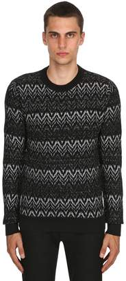 Saint Laurent Zigzag Wool Knit Sweater With Lurex