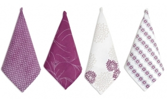 Pehr Adelaide Mixed Print Set Of Four Napkins In Plum