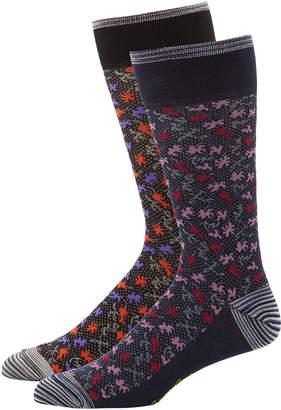 Robert Graham Men's Printed Dress Socks, Two Pack
