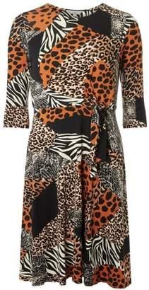 5a0b1f68d0 at Dorothy Perkins · Dorothy Perkins Womens Petite Orange Animal Print  Jersey Dress