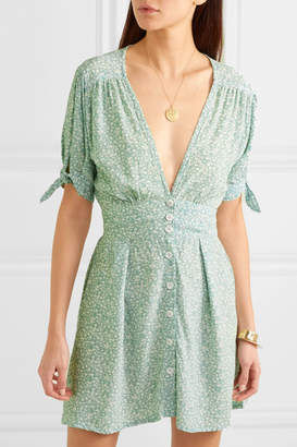 Faithfull The Brand Marianne Floral-print Crepe De Chine Mini Dress - Mint