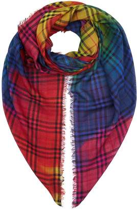 Burberry Tie-Dye Vintage Check Wool Silk Large Square Scarf
