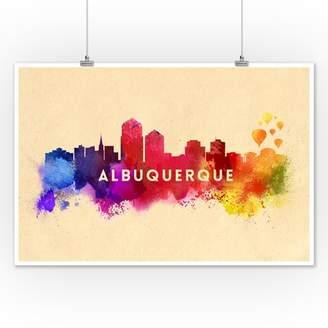 Albuquerque, New Mexico - Skyline Abstract - Lantern Press Artwork (12x18 Art Print, Wall Decor Travel Poster)