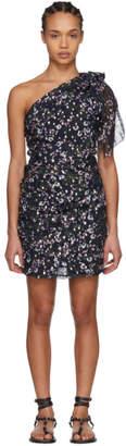 Isabel Marant Navy Myron Metallic Bloom Off-the-Shoulder Dress