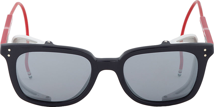 Thom Browne Navy Tricolor Square Steampunk Sunglasses