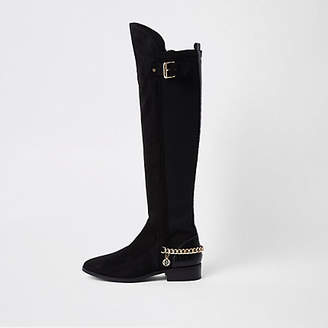 River Island Black wide fit over the knee chain boots