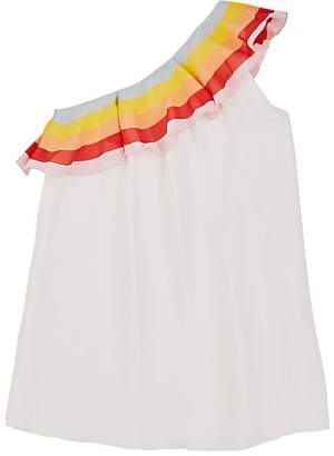 Chloé KIDS' RUFFLED TWILL ONE-SHOULDER DRESS