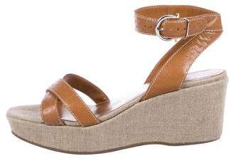 Salvatore Ferragamo Leather Crossover Wedges