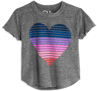 Chaser Girls' Striped Heart Tee - Little Kid, Big Kid
