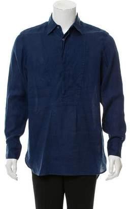 Burberry Linen Half Button-Up Shirt