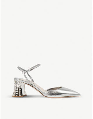 Miu Miu Crystal-embellished metallic leather pumps