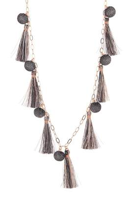 Rebecca Minkoff Metallic Pom Tassel Necklace