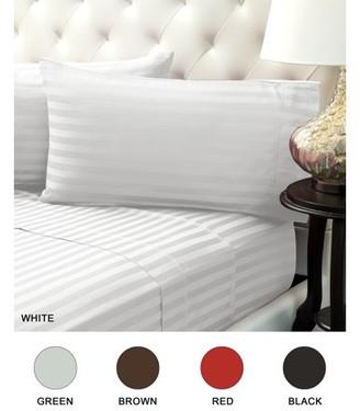 Color Sense 310 Thread Count Cotton Sheet Set Damask Stripe Wrinkle Free King White