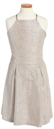 Girl's Ruby & Bloom Metallic Sleeveless Dress $49 thestylecure.com