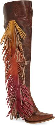 LANE BOOTS Fringe Over the Knee Western Boot