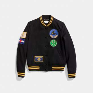 Coach Military Patch Varsity Jacket