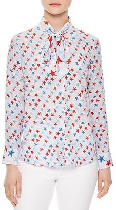 Sandro Space Tie-Neck Printed Silk Shirt $495 thestylecure.com