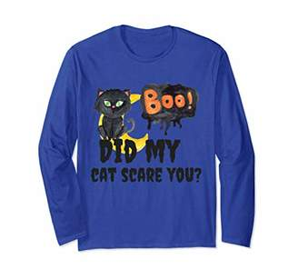 Boo Did My Cat Scare You Halloween Long Sleeve Tee Shirt