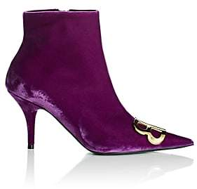 Balenciaga Women's Velour Ankle Booties - Purple