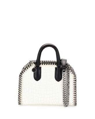 Stella McCartney Falabella Mini Crocodile-Embossed Box Satchel Bag, Ivory