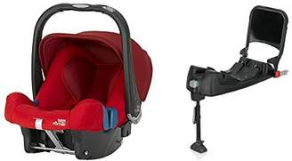 Britax Römer Baby-Safe Plus SHR II Group 0+, Birth to 13 kg Flame Red Car Seat with Black Isofix Base Bundle