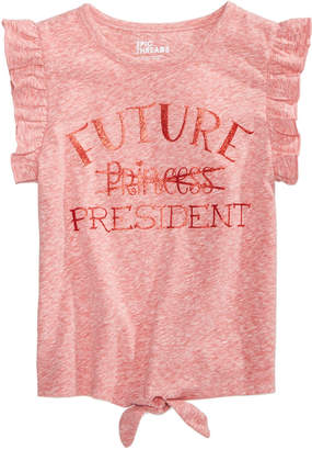 Epic Threads Toddler Girls Tie-Front Ruffle-Sleeve T-Shirt, Created for Macy's