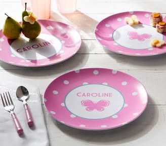 Pottery Barn Kids Pink Dot Plates, Personazlied Dot
