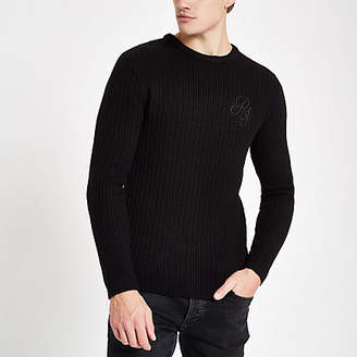 River Island Black muscle fit rib crew neck sweater