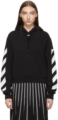 Off-White Black Diag Crop Hoodie