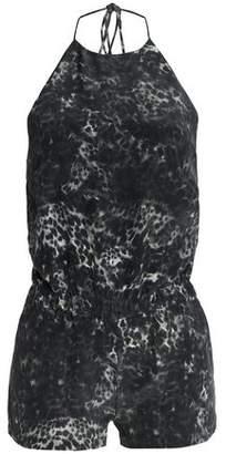 Mikoh Leopard-Print Silk Crepe De Chine Halterneck Playsuit