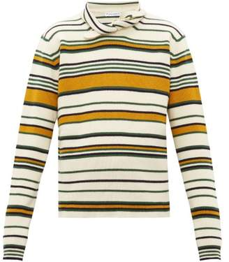 J.W.Anderson Collar Tie Striped Wool Sweater - Mens - Yellow Multi