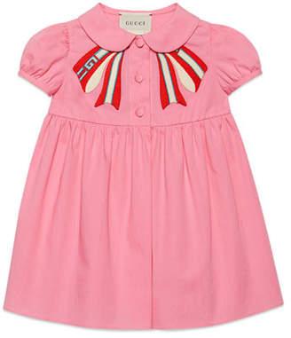 Gucci Peter Pan-Collar Dress w/ Logo Bow Applique, Size 3-36 Months