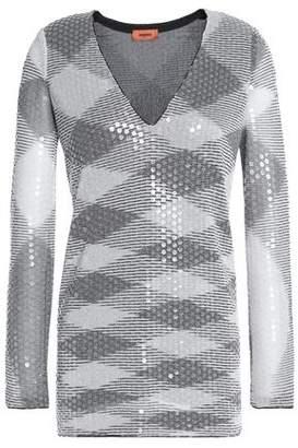 Missoni Metallic Sequined Crochet-Knit Top