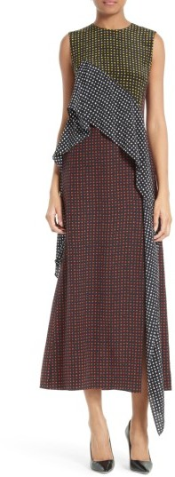 Women's Diane Von Furstenberg Ruffled Front Silk Midi Dress