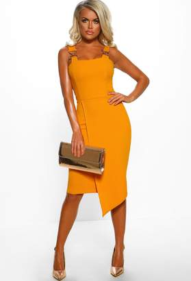 e1b9231565f6 Pink Boutique Female Boss Mustard Chain Strap Wrap Front Midi Dress