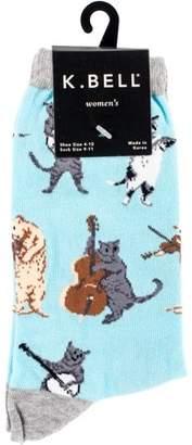 K. Bell Novelty Crew Socks - Musical Cat
