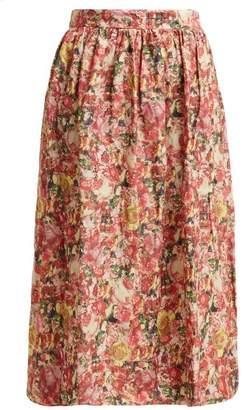 Marni Tie Waist Floral Print Midi Skirt - Womens - Pink Multi