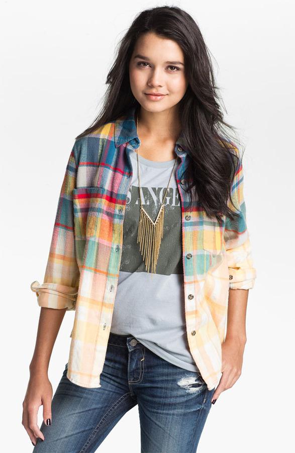 Mimichica Mimi Chica Ombre Plaid Shirt (Juniors)