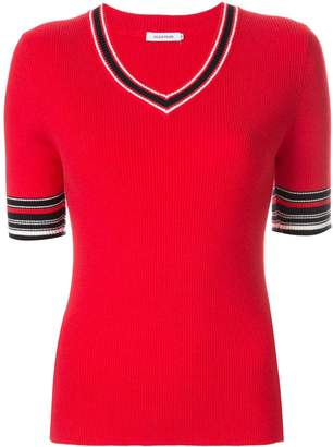 GUILD PRIME contrast short-sleeve sweater