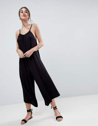 Asos Design Minimal Jumpsuit in Jersey with Gathered Neck Detail