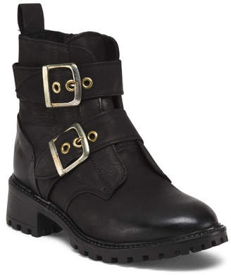 Made In Portugal Leather Booties With Gold Buckles