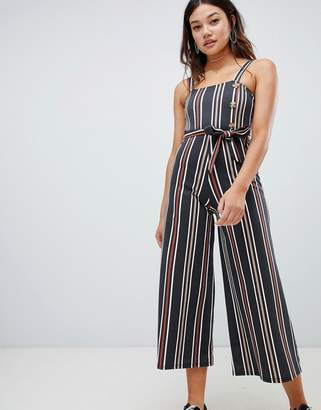 Wednesday's Girl belted jumpsuit with faux horn buttons in vintage stripe