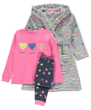 George White Striped Dressing Gown and Pyjamas 3 Piece Set